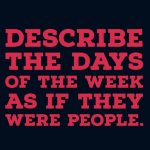 Writing ideas: days of the week